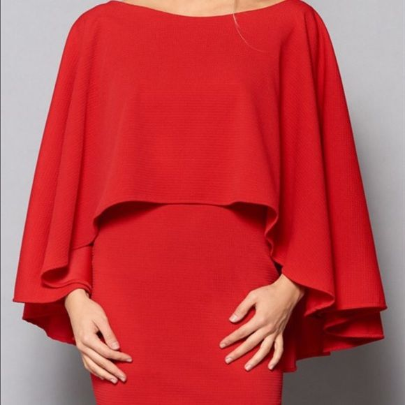 Red Cape Dress Red Cape Dress - This item was purchased wholesale for my online retail shop, so there are no manufacturer tags. However, it was never sold and has never even been tried on, so it is BRAND NEW. Turning Point Dresses Mini