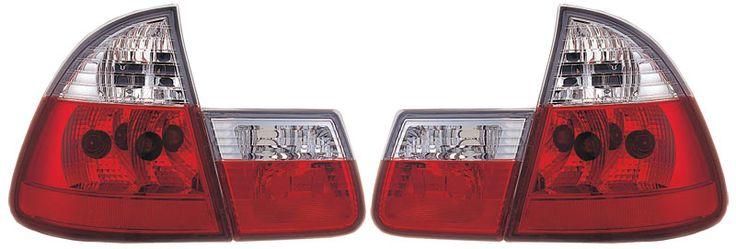 Röd vita klarglas baklampor BMW E46 Touring