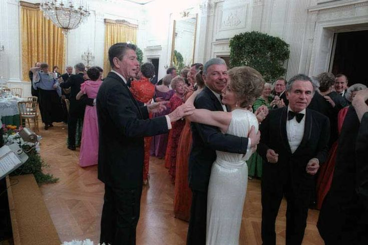 Ronald Reagan telling Frank Sinatra to stop dancing with his wife Nancy Reagan at the President's birthday party, 1981