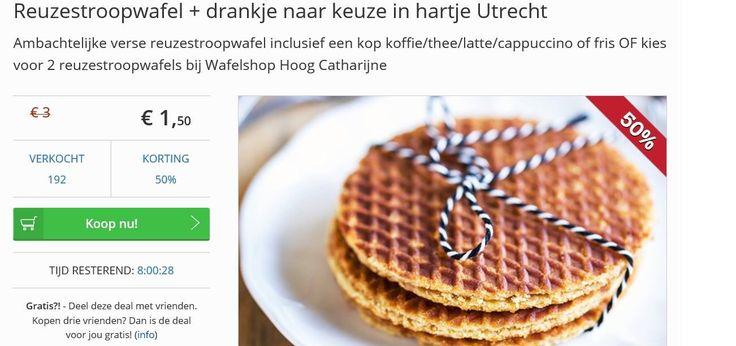 50% korting Social Deal: Reuzestroopwafel + warme drankje naar keuze in hartje Utrecht https://www.socialdeal.nl/deals/utrecht/wafelshop-hoog-catharijne/ambachtelijke-reuzestroopwafel-inclusief-een-kop-koffie-thee-latte-cappuccino-of-fris-of-kies-voor-2-reuzestroopwafels-bij-wafelshop-hoog-catharijne-utrecht/