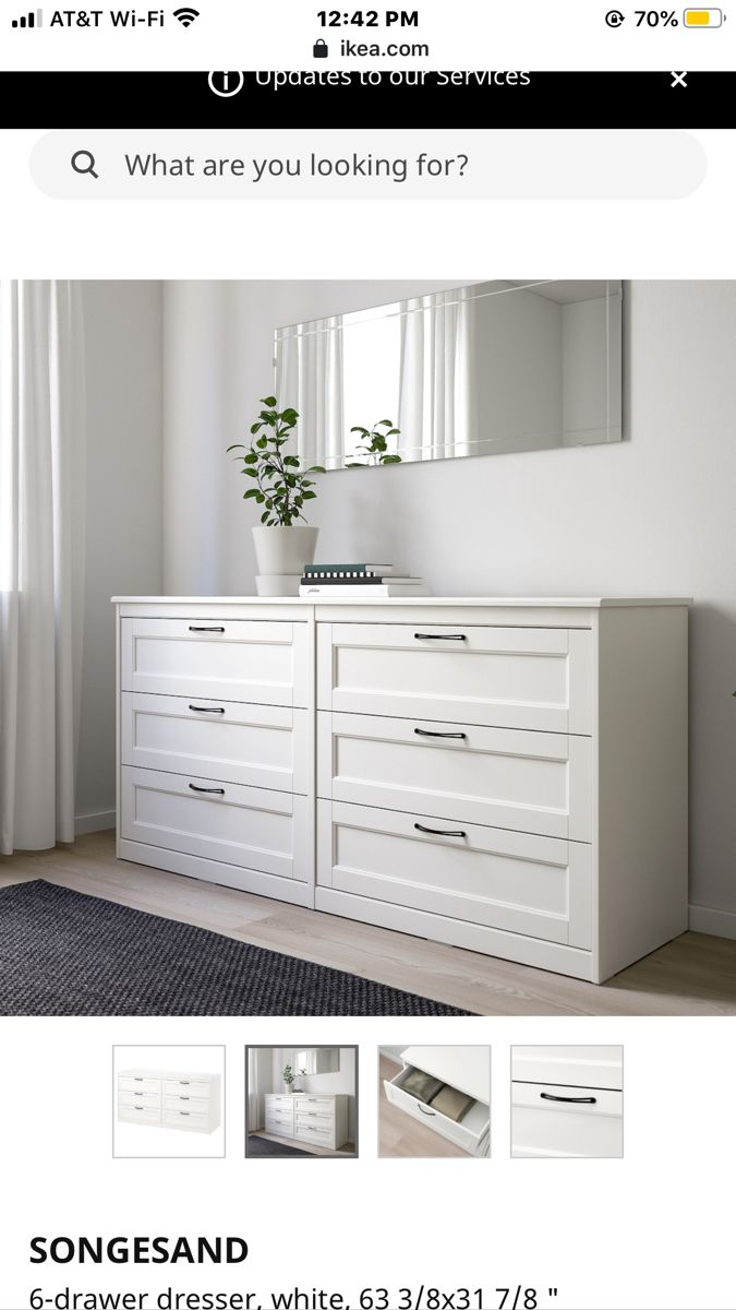 Songesand 6 Drawer Dresser White 63 3 8x31 7 8 Ikea In 2020 Dresser Drawers Furniture Drawers [ 1200 x 675 Pixel ]