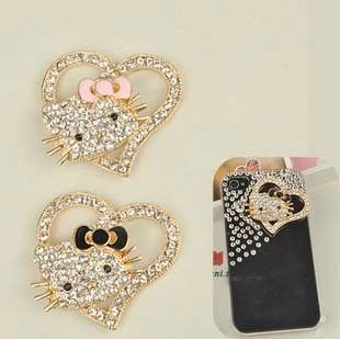 Min.$15 (Mixed Order) Cell Phone Case DIY Charms Alloy Hello Kitty Cat Heart Decoration With Free Shipping $2.28