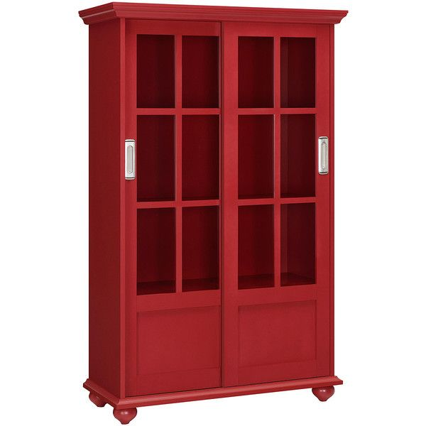 altra aaron lane bookcase with sliding glass doors red