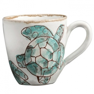 VIETRI Sea Turtle. Sea Turtles swim across a white background that looks sprinkled with sand. These whimsical baby turtles might be migrating back to the sea. Italy and VIETRI are committed to perserving nature and honoring the beautiful creatures who reside there. Made of terra bianca and handpainted in Tuscany. RETIRED PATTERN