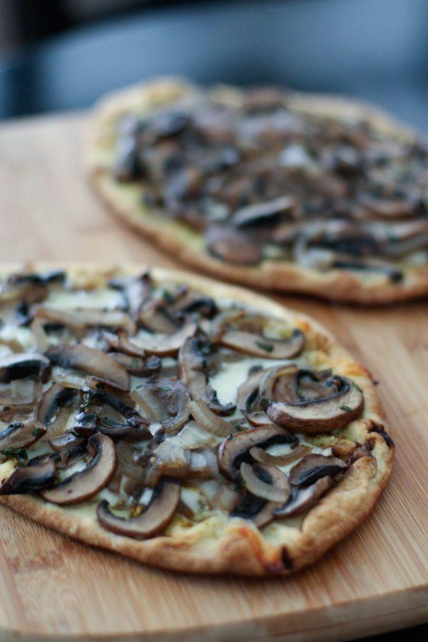 Grilled Portabella Mushroom Pesto Flatbreads with thyme, Mozzarella and Parmesan cheese. YUM!