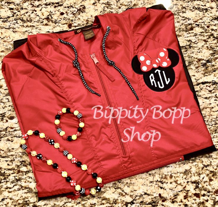 Packable Rain Jacket Mickey/Minnie Mouse Embroidered w/Monogram Adult by BippityBoppShop on Etsy https://www.etsy.com/listing/592097949/packable-rain-jacket-mickeyminnie-mouse
