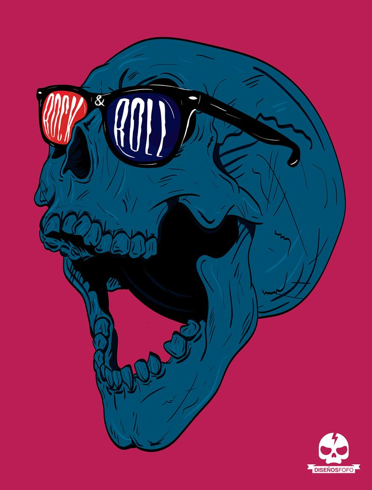 Rock & Roll Skull made with Adobe Illustrator and a Bamboo wacom tablet