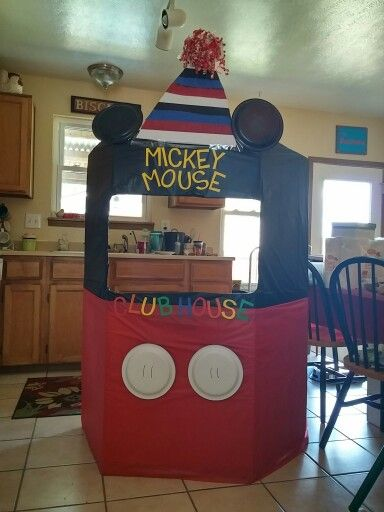 Mickey Mouse Photo Booth! I just finished this for my sons party that is a week away. Used a wardrobe box, paper plates, spray painted two of the plates black, used craft paper and stencils and table clothes from the dollar store! Suvh a fun project!