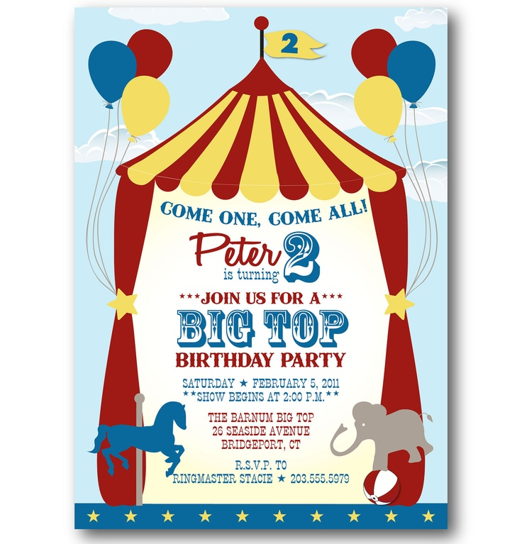 124 best Circus Party images on Pinterest Activities, Cake and - circus party invitation