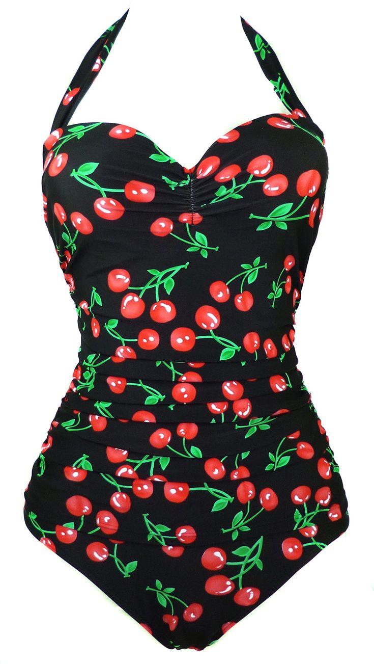 Amazon.com: Cocoship 50s Retro Vintage Flora Print White Polka One Piece Swimwear Monokinis(FBA): Clothing