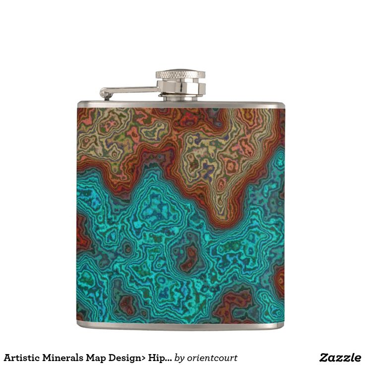 Artistic Minerals Map Design> Hip Flask