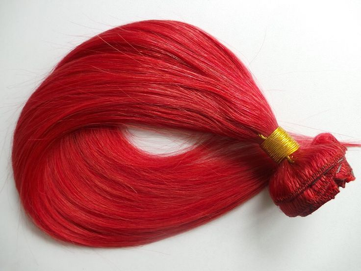 Bright Red human hair extensions