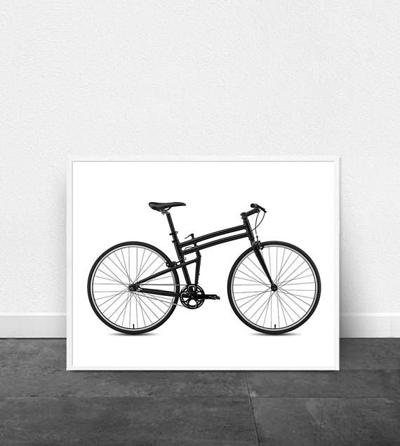Bicycle Print Bike Poster Minimalist art Black and White wall