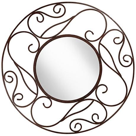 A beautiful openwork wall mirror with a painted brown finish and black marbling.