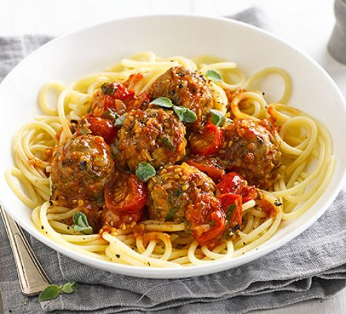 Lighter spaghetti & meatballs with pork mince and lentils
