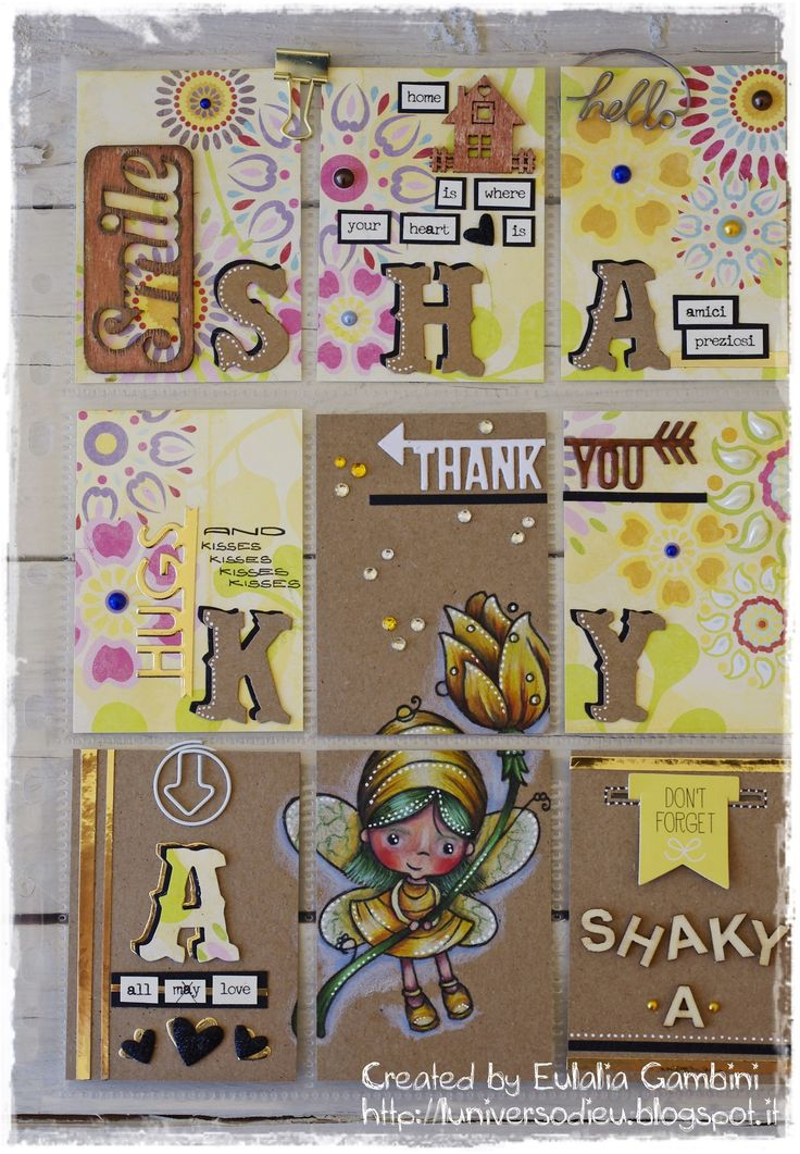 """Fatina e Fiori"" plate stamps coloured with Prismacolor on Kraft paper - by L'universo di Eu: Shaky A pocket letters"