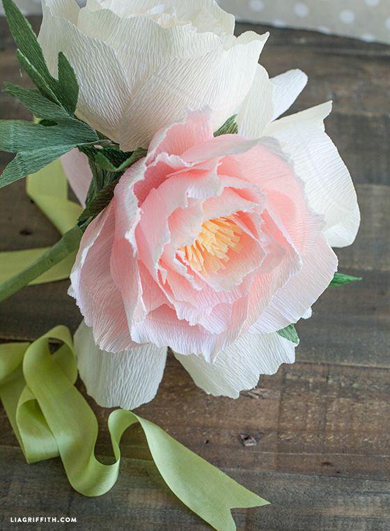 DIY Crepe Paper Peonies in Cream & Blush Colors