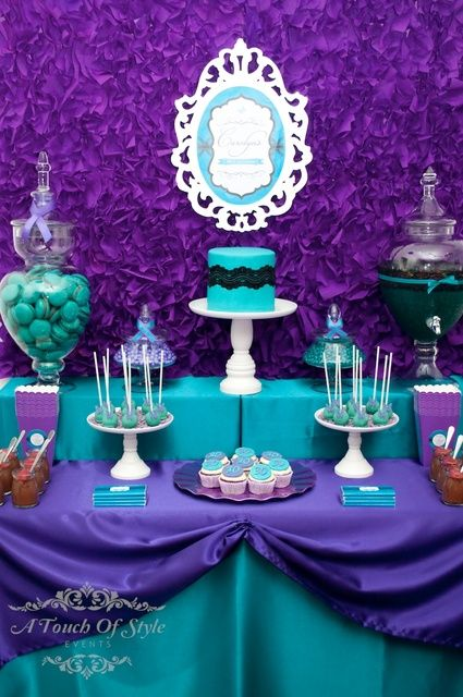 Photo 18 of 23: Purple and Teal / Birthday Purple and Teal 30th Birthday | Catch My Party