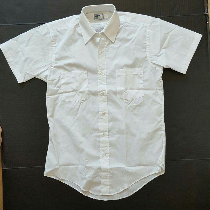 "ELBECO Corporate Apparel White Short Sleeve Work Uniform Security Shirt. Length: 28"" (71cm). Chest: 42"" (107cm). | eBay!"
