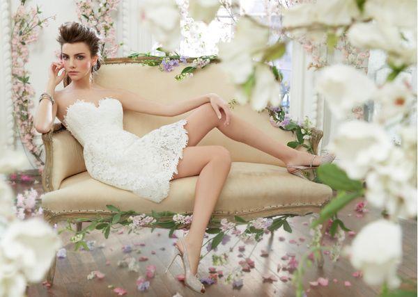 Новый роскошный 2 015 кружево свадебное платье короткое спереди длительного сексуальный бюстгальтер задней свадебный съемный женщина