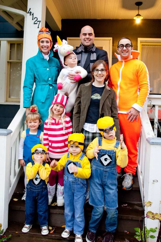 Despicable Me characters for Halloween! Handmade costumes. Our 5th year dressing as families together! Lucy Wilde, Gru, Vector, Margot, Edith, Agnes, the unicorn and of course the Minions.