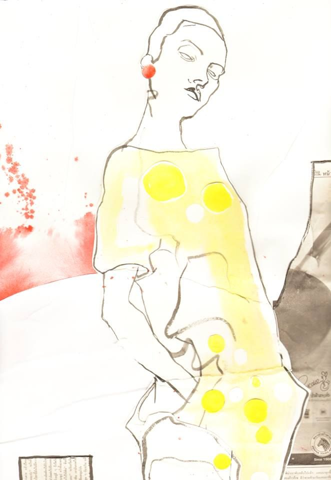 Fashion illustration, water color, ink and paper by Vilma Riitijoki