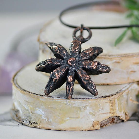 Anise Pendant Necklace Botanical Jewelry Copper Jewelry