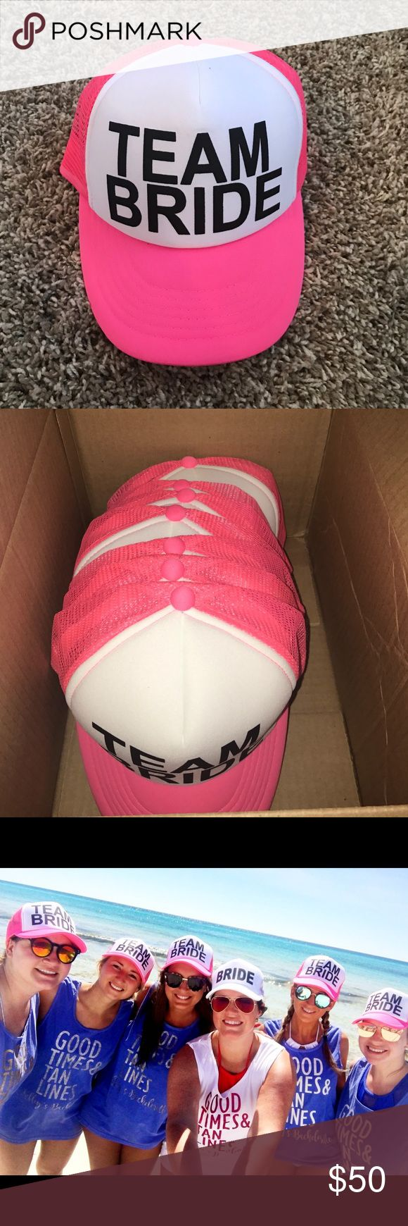 6 Team Bride hot pink trucker hats I have 6 hot pink #teambride hats available. I originally ordered 13 hats, including the bride, but then only 6 people ended up going on the bachelorette party. Soooo. I am left with these. They would def make a great party favor for any bachelorette party! We absolutely loved them feel free to ask questions or make an offer hats Accessories Hats