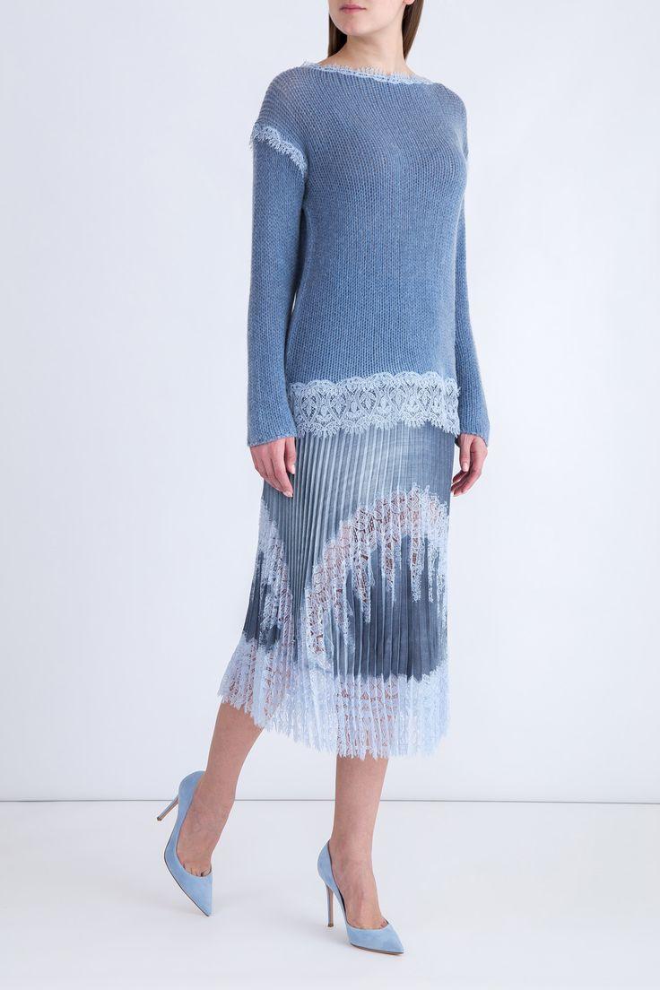 Женский джемпер ERMANNO SCERVINO джемперы, цвет голубой купить за 99800 руб. SS'18 в интернет магазине Intermoda.