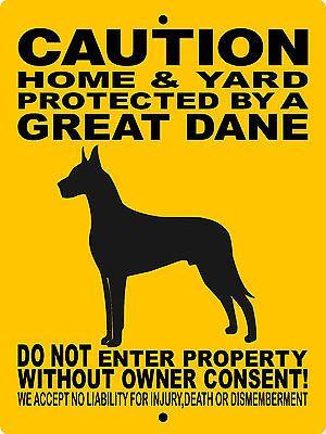 "GREAT DANE SIGN,GREAT DANE,9""x12"" ALUMINUM SIGN,DOGS,WARNING,GUARD DOG 2496GD"