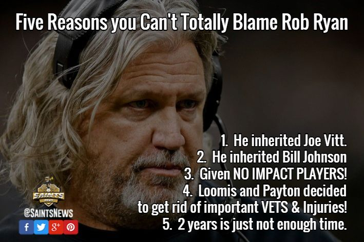 Five Reasons you Can't Totally Blame Rob Ryan  1.  He inherited Joe Vitt.  2.  He inherited Bill Johnson  3.  Given NO IMPACT PLAYERS!  4.  Loomis and Payton decided  to get rid of important VETS & Injuries! 5.  2 years is just not enough time. / Five Reasons you Can't Totally Blame Rob Ryan  #SAINTS #ROBRYAN