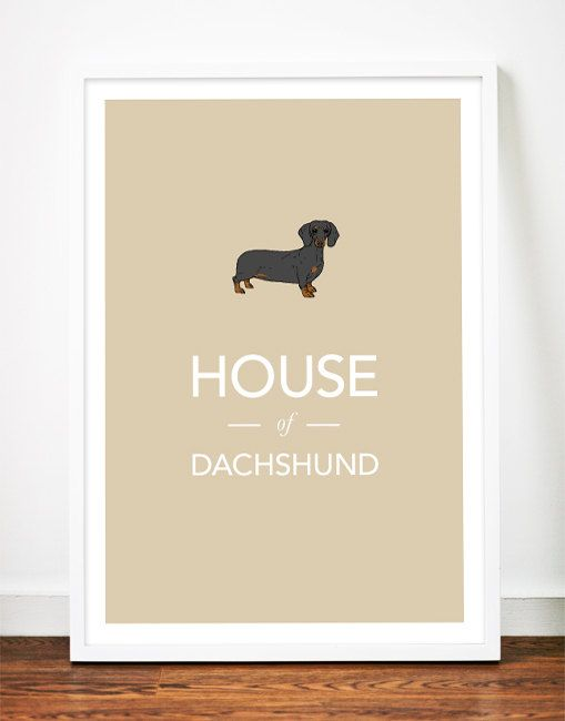 Dachshund print poster art illustration sausage dog typography, $29