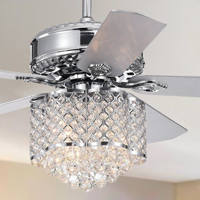 52 Wethington 5 Blade Crystal Ceiling Fan With Remote Control