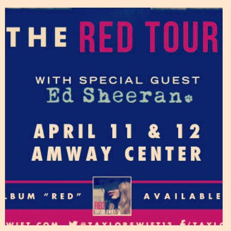 Taylor is bringing The Red Tour to the @Amway Center on April 11 and 12 with special guest ED SHEERAN <3    I'm wishing I'm lucky enough to attend. I have Dysautonomia, also called POTS (Postural Orthostatic Tachycardia Syndrome). I've been dealing with a lot of symptoms such as nausea, severe headaches, dizziness, orthostatic hypotension, tachycardia, bradycardia, and more. I've been a swiftie for 5 years. Her music has helped me through some rough times and I just want to see her on…