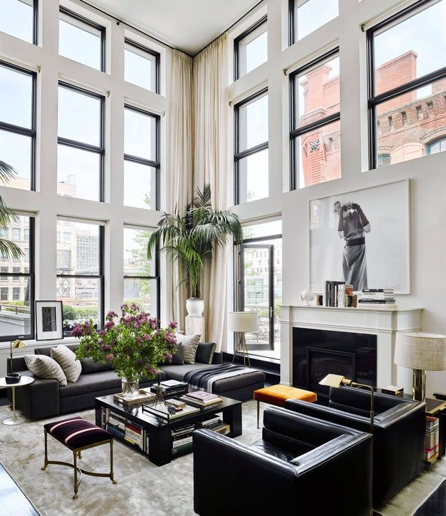 Double Height Living Room With 30 Foot Tall Ceilings Opening Up To The Terrace With Views Tall Ceiling Living Room Black Leather Sofa Living Room Nyc Apartment