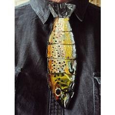 Cravate en bois, articulée ' truite fario '