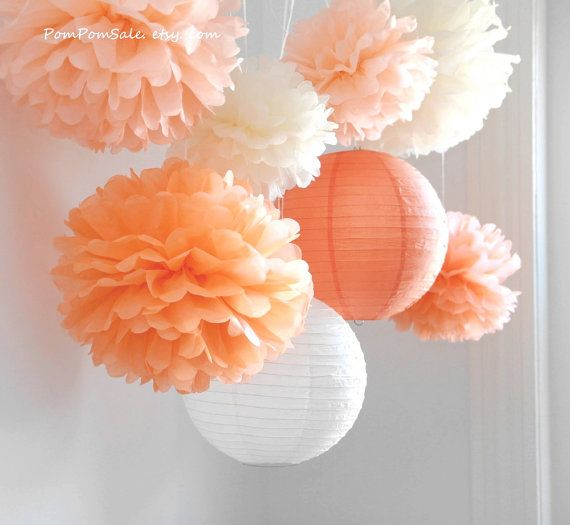 Fall in Love - 6 Tissue Paper Pom Poms plus 2 Paper Lantern - Fast Shipping - Wedding / Baby Shower / Birthday Party / Nursery Decor