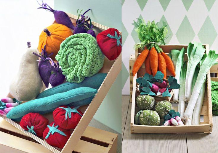 légumes en tissu pour un jeu de marchande