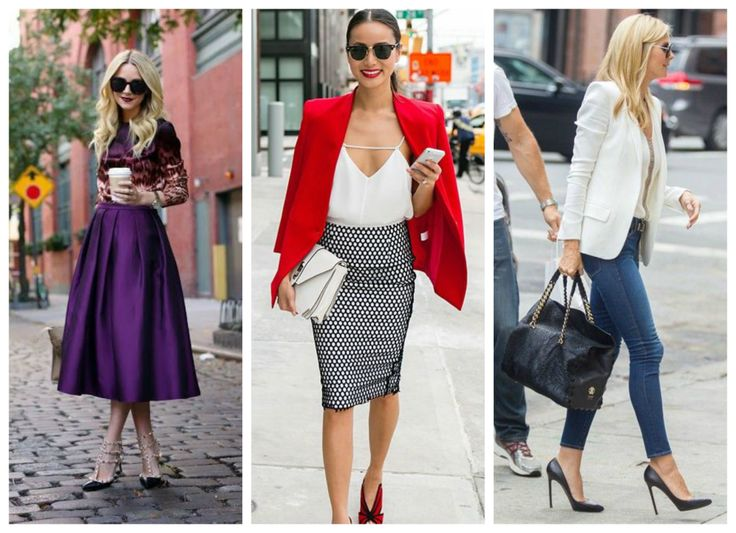 Find your own sense of style >>> http://bit.ly/1ENKONX Purple midi skirt, pencil skirt, red blazer, skinny jeans, white blazer.