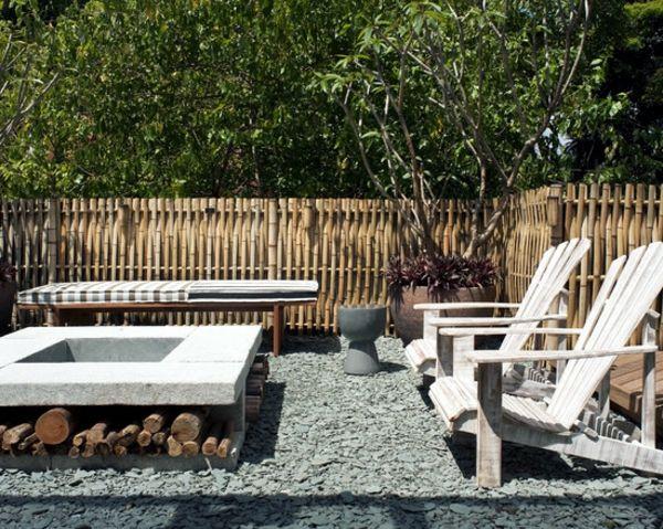 canisse bambou, design original, chaises en palettes