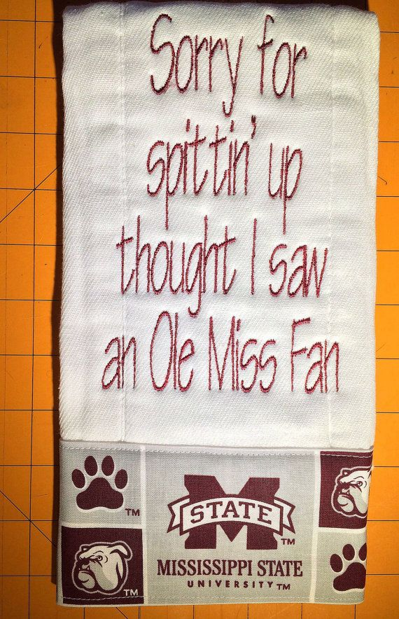 Mississippi State University Burp Pad........Also Available In Any Team & Color Combination on Etsy, $13.00