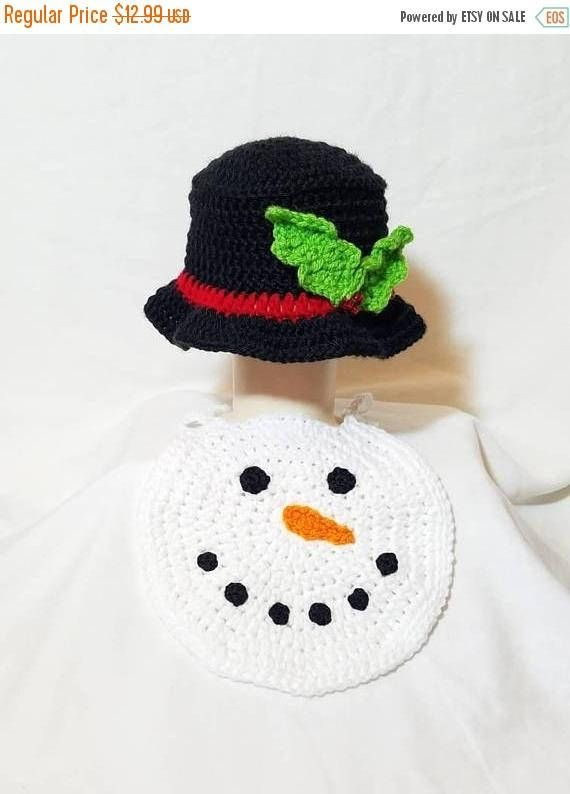 Christmas Sale Snowman Top Hat & Bib Set, 0-3 Months, Crochet Infant Snowman Hat, Crochet Snowman Bib, Infant Christmas Accessories https://www.etsy.com/listing/536923084/christmas-sale-snowman-top-hat-bib-set-0