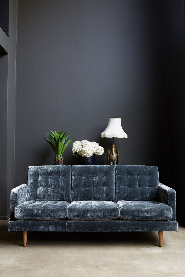Abigail Ahern couch.  Want this now! Love love love velour couches or occasional chairs.