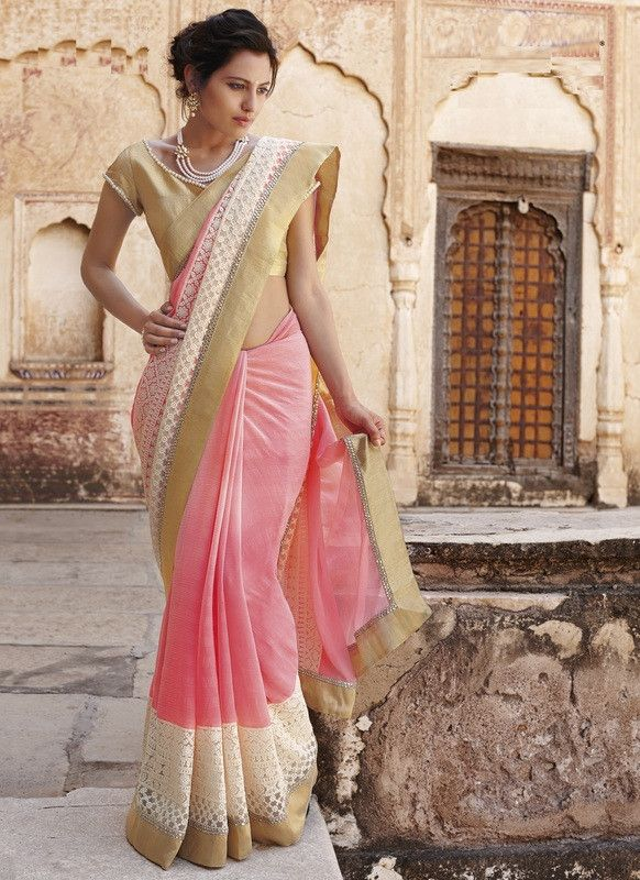 Baby Pink Color Wrinkle Chiffon Special Occasion Sarees : Amisha Collection YF-26172