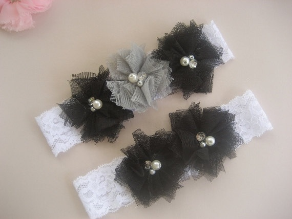 Items Similar To Bridal Garter Wedding Set Toss Included Black And White With Rhinestones Pearls Custom Colors On Etsy