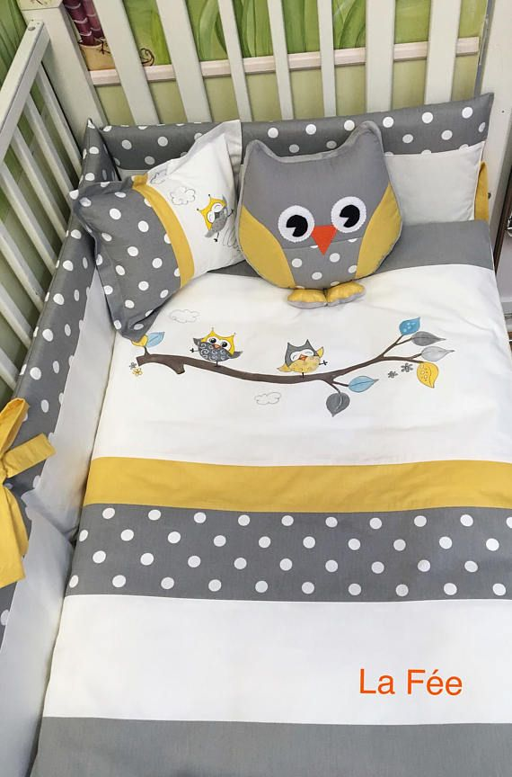 Baby Bedding Sets Bed Linen, Owl Nursery Bedding Yellow