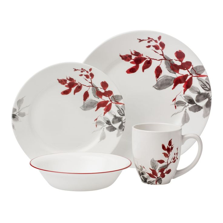 Corelle Boutique Kyoto Leaves 16 pc Dinnerware Set
