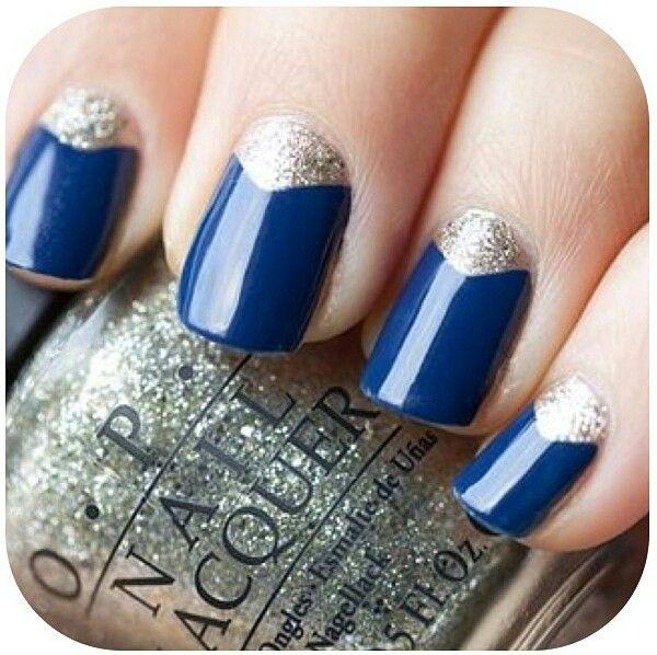 Navy and Silver nail design