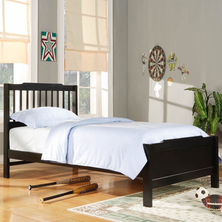 bedroom black wooden twin size bed frame white bed covers set around grey painted bedroom