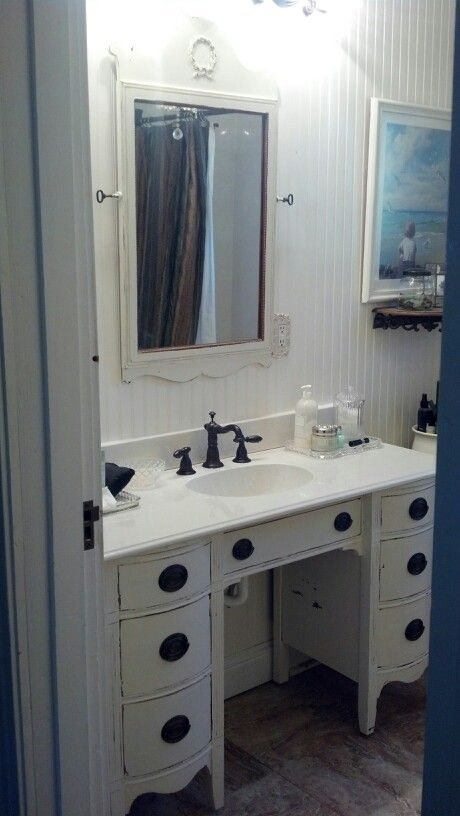Dresser Turned Bathroom Vanity Tutorial: Old Dresser Turned Into A Vanity!